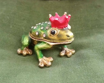 Vintage enameled with inset crystals frog prince trinket box