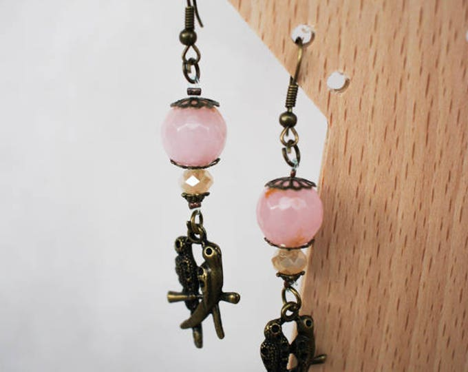 Dangle pink old agate Bohemian earrings for a couple of birds, primer and brass earring hooks, gift for her