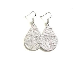 Silver Leather Earrings / Teardrop Earrings / Medium / Statement Earrings / Lightweight / Leather Jewelry / Ready to Ship!!