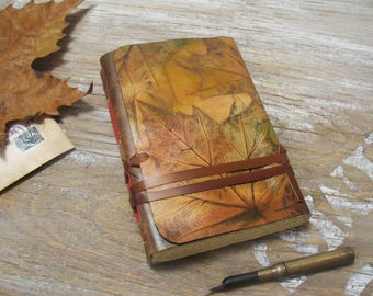 journal, personalized leather journal, one of a kind gift for her, personalized gift for mom, gift for girlfriend, sister, wife, Fall Leaves