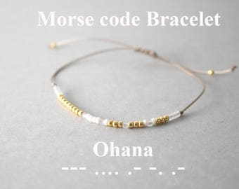 Morse Code Ohana Bracelets, Ohana Bracelets, Sorority Bracelets, Morse code bracelets, Family bracelet, Custom morse code bracelet