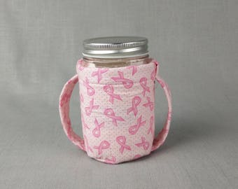 Slightly Irregular* Pint Mason Jar Cozy for hot or cold liquids - Breast Cancer Awareness print