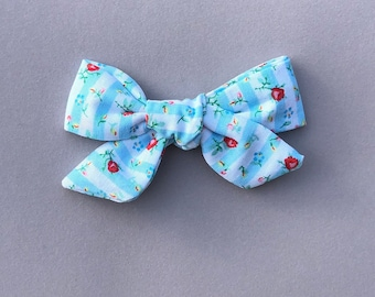 Handmade Hand Tied Floral Striped Bow