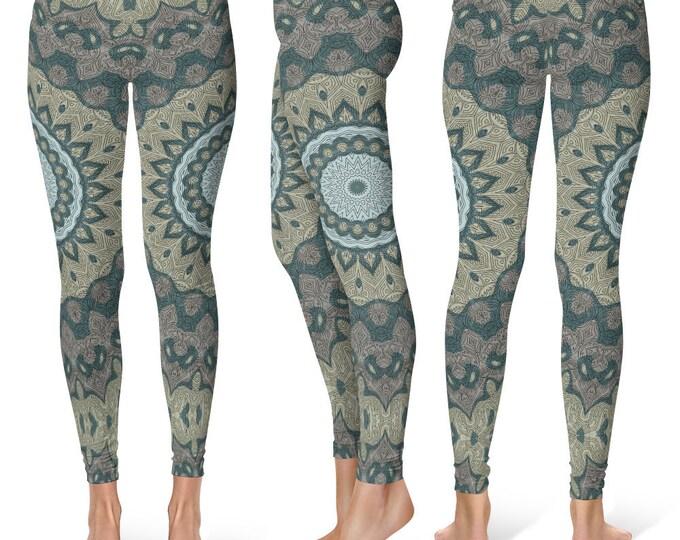 Festival Leggings Yoga Pants, Tribal Printed Yoga Tights for Women, Burning Man Clothing