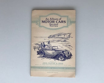 Motor Cars: collectable cigarette album. Complete set of cards in original Album from John Player. Second Series 1937.