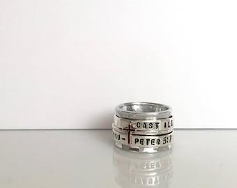 1 Peter 5:7 Spinner Ring