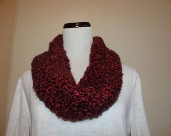 Maroon Hand Knit Infinity Scarf by Vi.