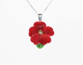 Porcelain Red Primrose pendant with sterling silver necklace/ Flower Necklace/ Flower Pendant/ Flower jewellery/ Red Primrose necklace