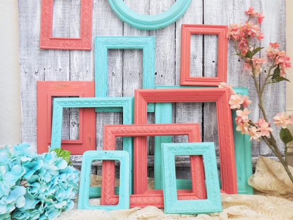Coral and Aqua Picture Frame Set, Salmon, Teal, Turquoise, Wedding ...
