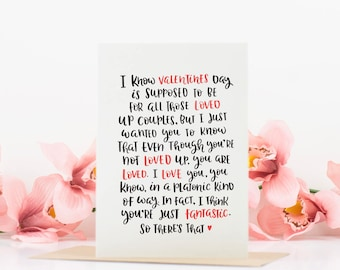 Valentines Card for Friend, best friend card, bff, galentines day, platonic soulmate