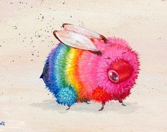 Rainbow Bee- Mini Print Signed 5x7 by Camilla d'Errico Bumble Bee
