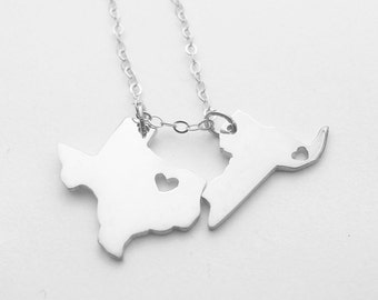 State pendants etsy two states love necklacesilver two states necklacebest friendship state necklacesmall aloadofball Gallery