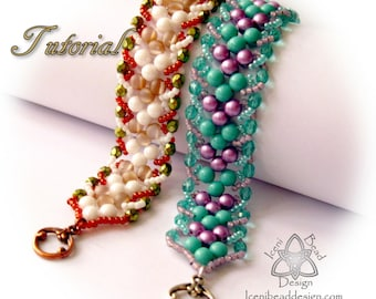 Tutorial Chevron Bracelet with RounDuo Beads, Beadwork, Seed Bead, pdf Pattern, Instructions. English Only,