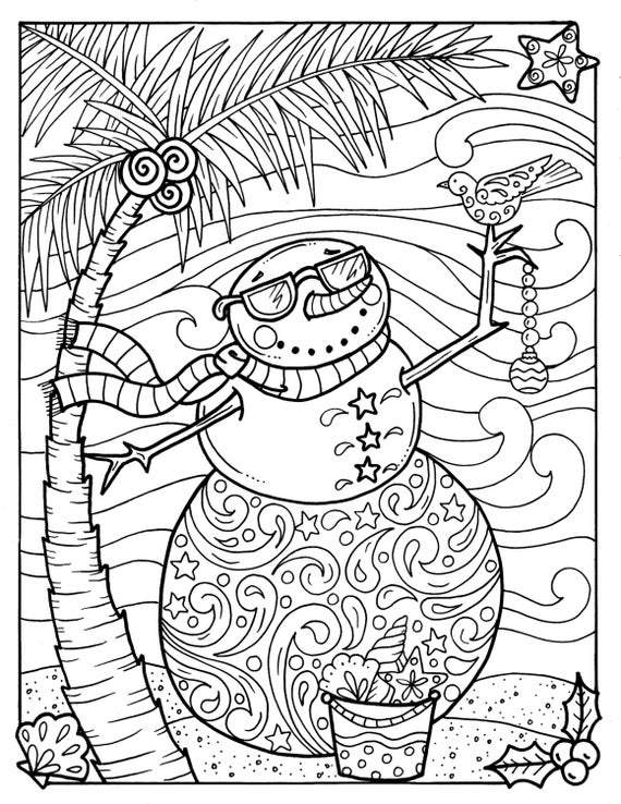 Tropical Snowman Coloring page