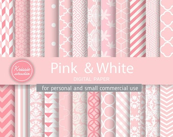 SALE ***Pink & White Digital Paper - Backgrounds - for graphic design, crafts,scrap booking - INSTANT DOWNLOAD (DP025)