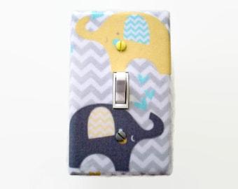 Grey Yellow Light Switch Cover - Elephant Chevron Nursery - Elephants Switch Plate - Elephant Boys Room - Elephant Decor - Gender Neutral