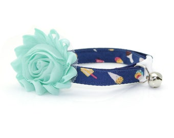 "Cat Collar + Flower Set - ""Ice Cream Party"" - Navy Blue Cat Collar w/ ""Mint"" Flower (Detachable) / Popsicle / Summer / Cat & Small Dog"