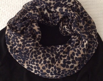 Leopard Print Scarf - Lightweight Infinity Scarf