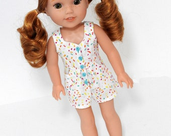 Trendy Handmade Wellie Wishers Romper 14.5 Inch Doll Clothes