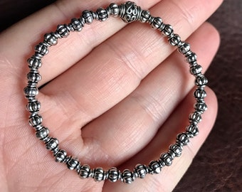 Silver Beaded Bracelet - Stacking Bracelet