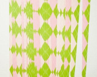 Pre Cut Paper Bead Strips, Craft Supplies Green Pink Argyle