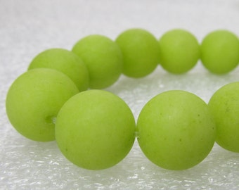 Jade Beads 12mm Pistachio Green Sandblasted Matte Candy Smooth Rounds -  8 inch Strand