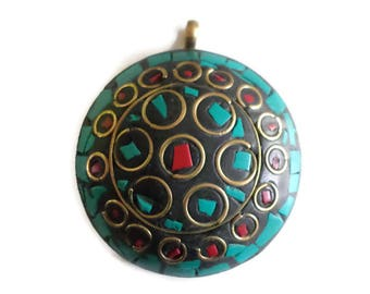 Handmade turquoise and coral inlay Nepal ethnic pendant
