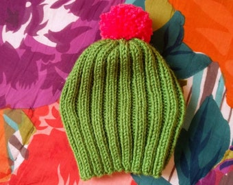 Hand knit cactus hat in toddler/youth size
