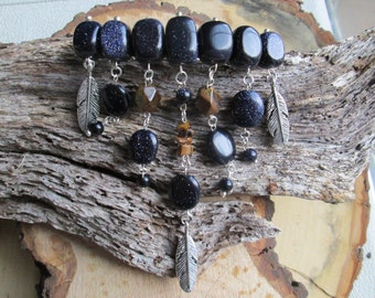 Blue Goldstone and Tigerseye Hair clip