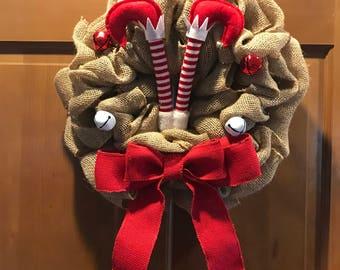 Christmas elf burlap wreath