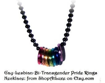 Gay-Lesbian-Bi-Transgender Pride Rings Necklace - Show Your PRIDE