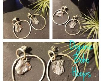 Organic Boho Hoops Post Earrings