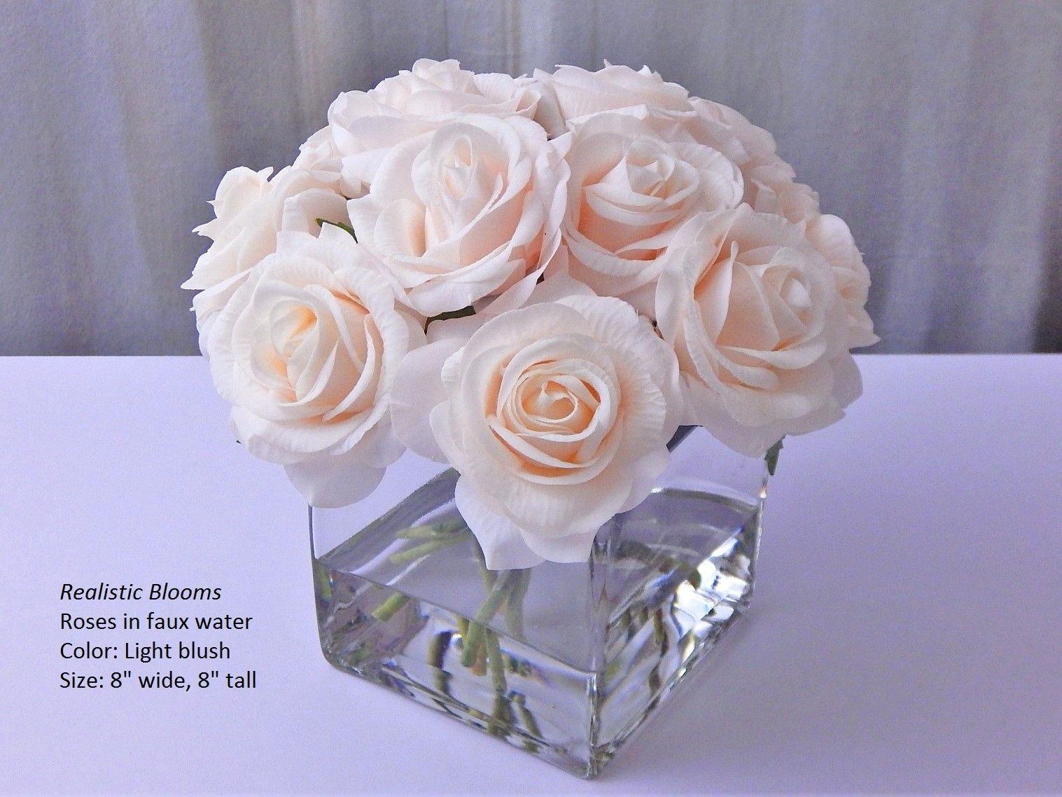 Pinkblushlight silk roseroses cubevase faux water