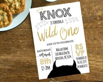 where the wild things are birthday invitation wild rumpus birthday little boy 1st black gold crown wild one # 2064