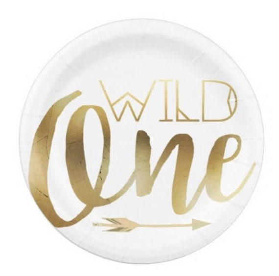 Sale 32 WILD ONE Paper Plates Dessert Snack Where the Wild Things Are Birthday Kids Nursery Baby Shower Appetizer Plate Gold White Arrow 7\   sc 1 st  Etsy & Sale 32 WILD ONE Paper Plates Dessert Snack Where the Wild