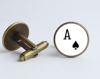 Ace card cufflinks Ace cuff links Men cuff links Playing card jewelry Card gift Poker jewelry Poker cufflinks Ace of Spades Mens jewelry