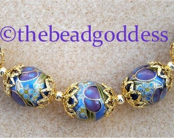NEW DESIGN Japanese TENSHA Beads 12mm, Purple Plums on Blue with Bell Caps