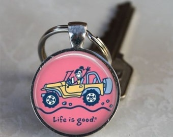Life is Good JEEP GIRL It's a Jeep Thing Wrangler Soft top off road Altered Art KEYRING Keychain