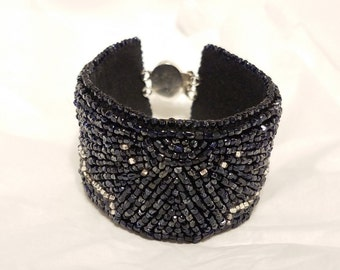 Black and Silver Art Deco Bead Embroidery Bracelet
