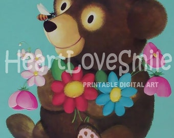 TEDDY BEAR Vintage Digital Image Instant Download Printable