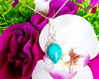 Turquoise Necklace, Celtic Necklace, Turquoise, Healing Crystals, Gemstone Necklace, Necklace, 925, Sterling Silver, Celtic Knot
