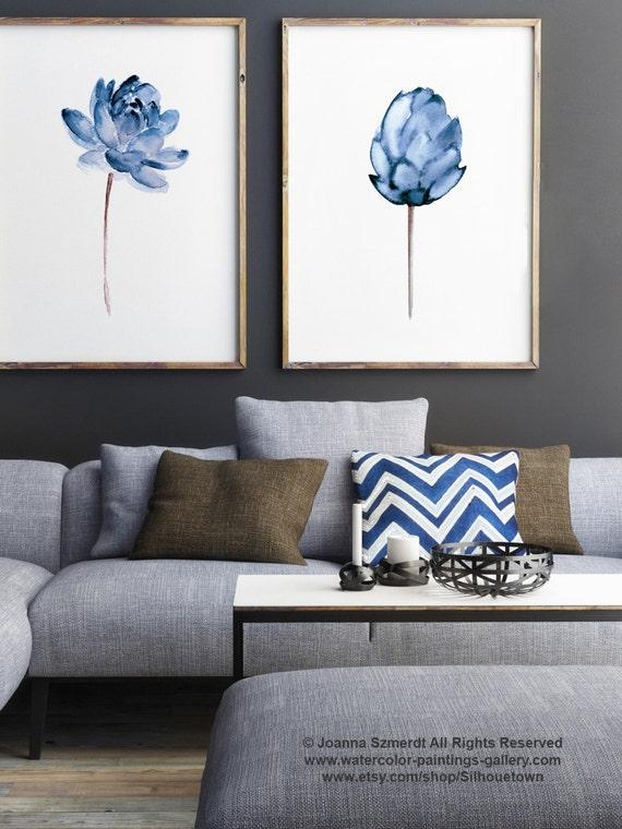 Lotus flower art print floral watercolor painting set of 2 mightylinksfo