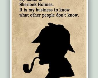 Sherlock Holmes, Sherlock poster, Sherlock print, Sherlock wall art , Sherlock quote, Sherlock Holmes art, Detective Sherlock, Baker Street