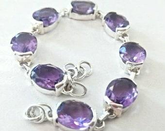 8 Amethyst natural stone 925 silver bracelet.