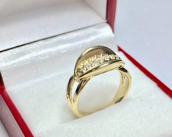 Beautiful Vintage 1960's Diamond Ring, 14KT Yellow Gold Diamond Ring, Multistone Ring, Stackable Ring, Vintage Diamond Ring