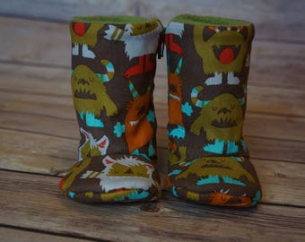 Monster print zip-up baby boots 3-6 months