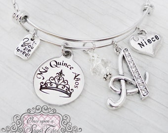 15 year old Niece Birthday Gift- Quinceanera Jewelry, 15th Birthday, Letter Bangle Bracelet, Personalized - Mis Quince Anos, Jewelry- Crown