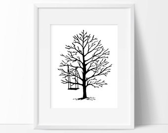 Tree Swing—custom size print, stamp + ink drawing