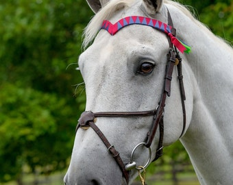 "CUSTOM V-SHAPED BROWBAND with Traditional Ribbon ""Tail"" Finish"