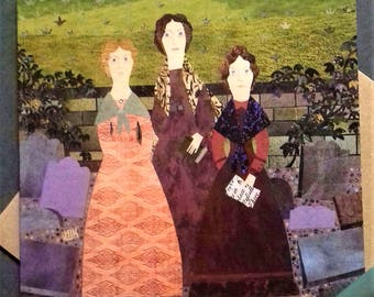Brontë Sisters Greeting Card·Illustration·Collage·Haworth·Recycled·Square Card·For Booklovers·British·Wuthering Heights·Amanda White Design